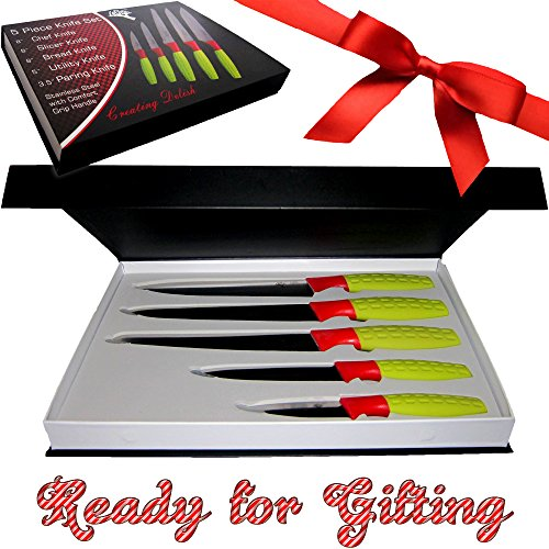 High Quality Watermelon Knife - 5 Piece Color Knife Set with Sharp Blade - For Home and Kitchen - Includes