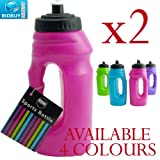 2 Sports Bottles - One Handed - Pop-Up Top - Carry Handle (Pink)