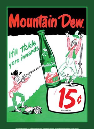 Mountain Dew Soda 15 Cents Retro Vintage Tin Sign