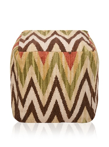 Surya Inc Pouf Ottoman Parchment with Accent Colors