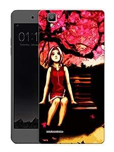 "Humor Gang Girl On BenchPrinted Designer Mobile Back Cover For ""Oppo F1"" (3D, Matte Finish, Premium Quality, Protective Snap On Slim Hard Phone Case, Multi Color)"