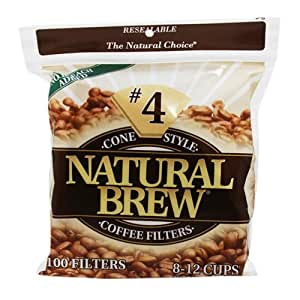 # 4 Cono de café Filtros, Brown Paper, Bolsas 100-Count