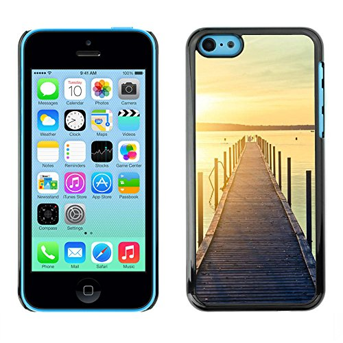 For Apple iPhone 5C Case , Jetty Dock Beach Sunset Lake - Colorful Pattern Hard Back Snap-On Cover Case Skin Mobile Phone Shell Bumper