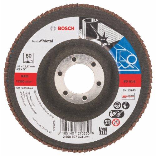 Bosch 2608607324 - Disco a lamelle, diametro 115 mm, grana 80