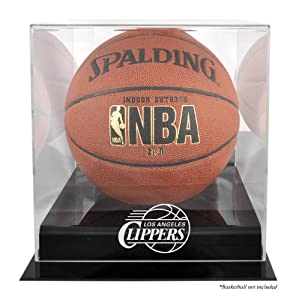 Los Angeles Clippers Black Base Logo Basketball Display Case with Mirror Back by Mounted Memories