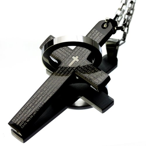 Hermes jewelry surgical steel 316 L (stamped and) men's Necklace big cross & ring black 316L-10
