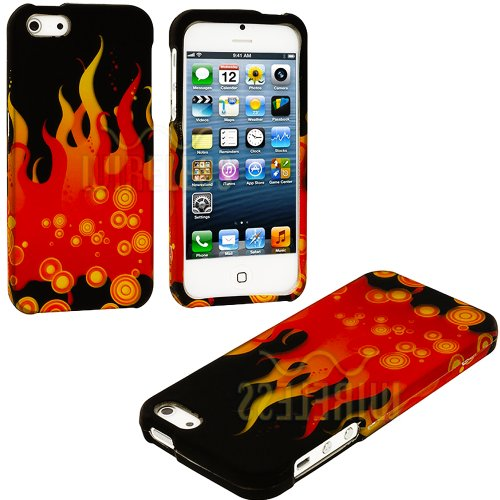 Mylife Red + Yellow Bubbles And Flames Series (2 Piece Snap On) Hardshell Plates Case For The Iphone 5/5S (5G) 5Th Generation Touch Phone (Clip Fitted Front And Back Solid Cover Case + Rubberized Tough Armor Skin)