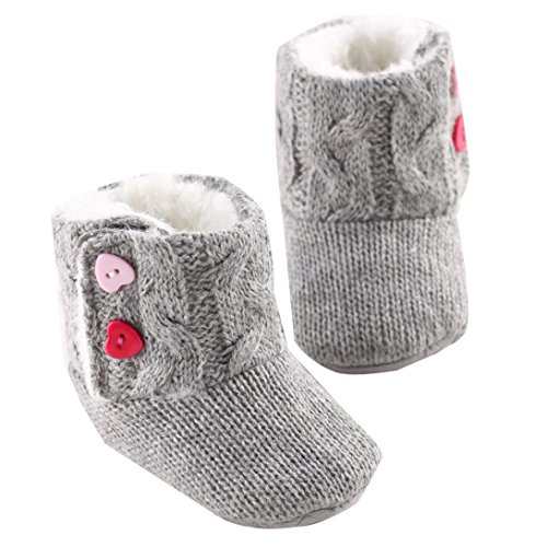 Perman Baby Girls Soft Sole Flats Crib Boots Toddler Prewalker Button Shoes (11cm/0-6M, Gray)
