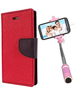 Aart Fancy Diary Card Wallet Flip Case Back Cover For Samsung ON5 -(Red) + Mini Aux Wired Fashionable Selfie Stick Compatible for all Mobiles Phones By Aart Store