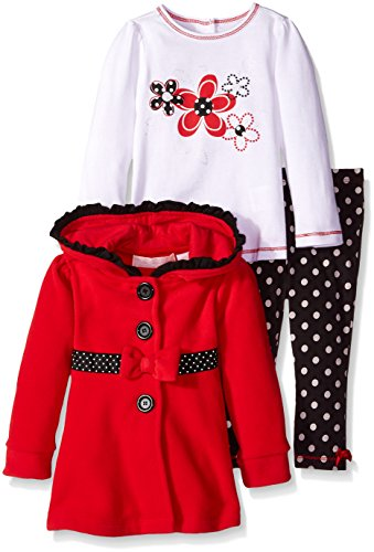 Kids Headquarters Baby Girls' Jacket with Tee and Polka Dots Pants, Red, 12 Months