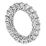 Platinum Round Diamond Braided Prongs Eternity Wedding Ring (4.00-4.50 CT TDW)