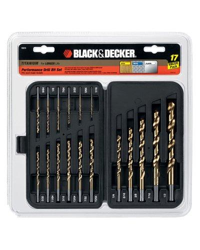 Christmas Black & Decker 17 Pc 135º Split Point Titanium Drill Bit Set Part No. 15573 Deals