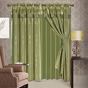 curtains panels drapes window set with attached valance and sheer