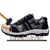 JACKSHIBO Mens Work Safety Shoes, Breathable Outdoor Steel Toe Footwear Industrial Construction Shoes,Hiking Shoes