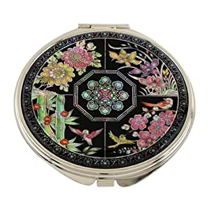 Antique Alive Mother of Pearl Four Noble Plants Double Compact Magnifying Cosmetic Makeup Purse Pocket Mirror, 3.2 Ounce