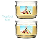 Hosley Set of 2 Tropical Mist Highly Scented, 2 Wick, 10 Oz wax, Jar Candle. We Hand Pour Our Candles Using a High Quality Wax Blends with Essential Oil Infused Fragrance Ingredients to Create a Highly Fragranced Aroma. Ideal for Spa, Aromatherapy and Everyday Use.