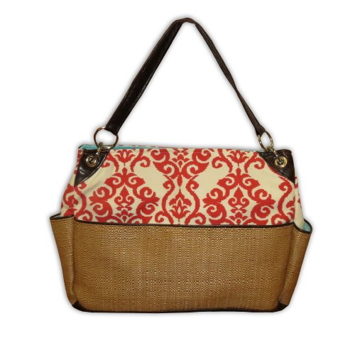 Caught Ya Lookin' Chic Diaper Bag, Coral Fleur De Lis and Straw