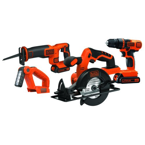 Black & Decker BD4KITCDCRL 20V MAX Drill/Driver Circular and Reciprocating Saw Worklight Combo Kit (Black And Decker 20 V Kit compare prices)