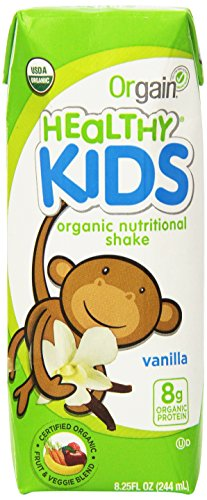 Orgain Healthy Kids Organic Nutritional Shake, Vanilla, 8.25 Ounce, 12 Count