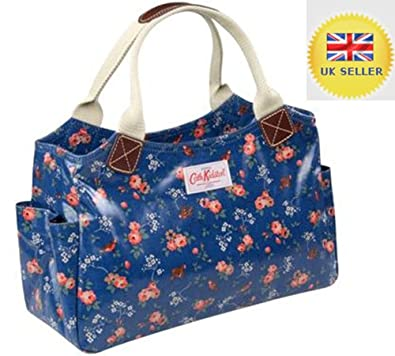 Genuine Real Cath Kidston Navy Blue British Birds Floral Flower Ladies Day Bag Oilcloth Womens ...