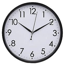 Hippih 10 Silent Non-ticking Wall Clock,Black