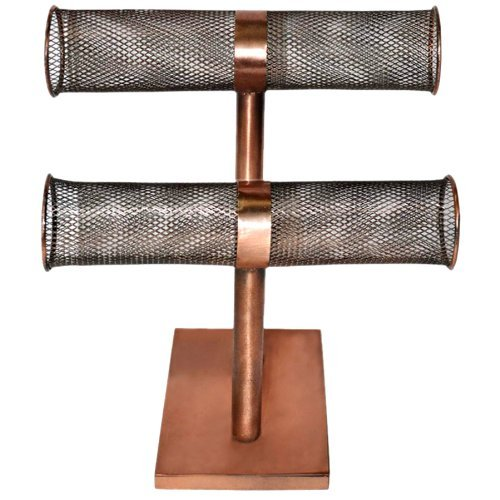 25cm-bronze-double-tier-metal-wire-cylinder-tabletop-jewellery-hanger-earring-necklace-bracelet-hold