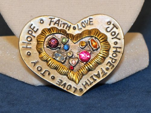 Fruits of the Spirit PEWTER Heart Shaped Woman's GIFT BROOCH PIN WITH RHINESTONES CRYSTALS .. from Hibiscus Express