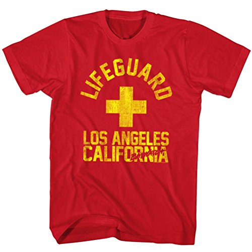 Baywatch L.A. California Lifeguard T-shirt, Red - S to XXL