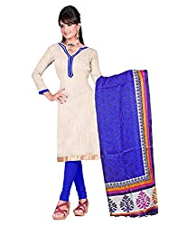 Indian Designer Bollywood Casual Wear Bhagalpuri Silk Beige Un Stitch Branded A-line pattern Salwar Suit Dress Material for woman From Lookslady
