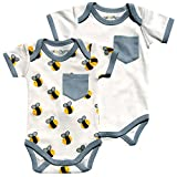 Cat & Dogma - Certified Organic Infant/Baby Clothing Bee/Gray Bodysuit Pack (6-12 Months)