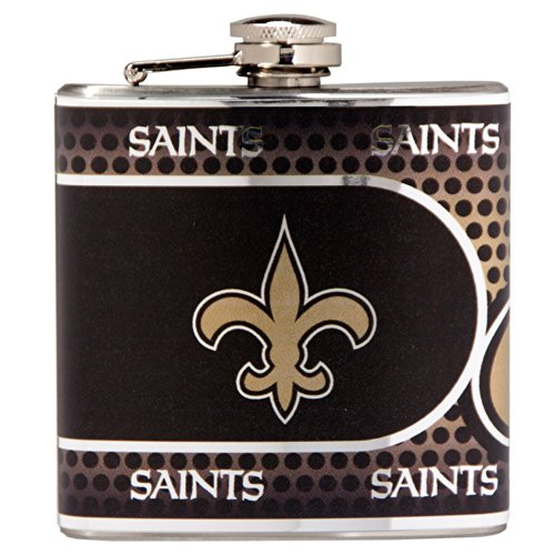 NFL New Orleans Saints Stainless Steel Hip Flask with Metallic Graphics, 6-Ounce, Silver