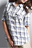Autograph Weekend Pure Linen 3/4 Sleeve Check Shirt [T50-1568-S]