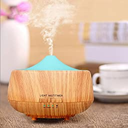 Top Home Dec 250ml Cool Mist Humidifier Ultrasonic Aroma Essential Oil Diffuser for Office Home Bedroom Living Room Study Yoga Spa - Wood Grain