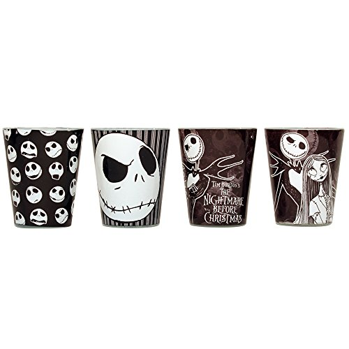 Silver Buffalo NB031SG1 Disney Nightmare Before Christmas 4pc Colored Mini Glass Set, 1-ounce