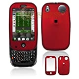 Red Rubber Feel Snap-On Cover Hard Case Cell Phone Protector for Palm PRE