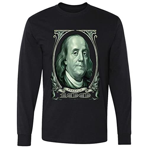 Teeshirtpalace Big Cash Benjamin Franklin Money Long