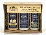 All Natural Himalayan Salt Gift Pack No MSG No Artificial Flavors Garlic Lemon Pepper Salt (2.25 oz), Gourmet Tablle Salt (4 oz), Garlic Salt with Parsley (3 oz)