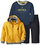 Nautica Baby-Boys Infant 3 Piece Zip Fleece Set, Gold, 24 Months