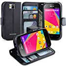 BLU Dash JR 4.0 K Case, LK [Kickstand Feature] [Perfect Fit] BLU Dash JR 4.0 K Wallet Case, Luxury Wallet PU Leather Case Flip Cover Built-in Card Slots & Stand For BLU Dash JR 4.0 K , [Wallet Feature] BLACK