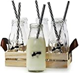 Circleware Dairy Antique Glass Milk Drink Bottles with Strong Reusable Plastic Straws and Wooden Tray, 10 Ounce, 13 Piece Set, 6 Glass Bottles, 6 Straws 1 Wooden Tray, Limited Edition Glassware Serveware Drinkware