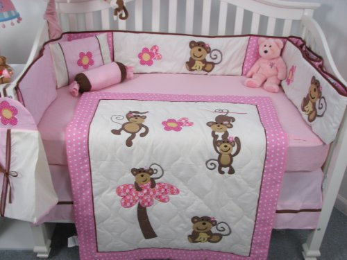soho pink monkey baby crib nursery bedding set 13 pcs included bag with changing