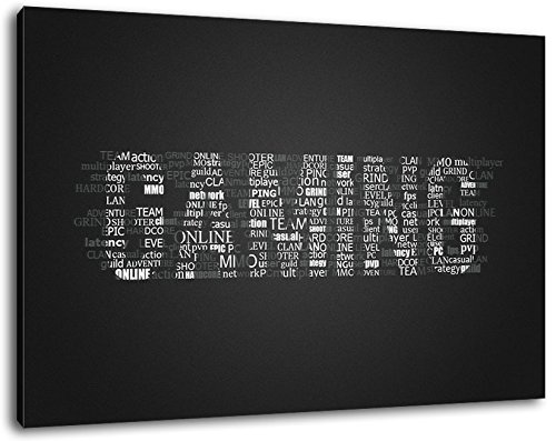 Gaming lettering Formato: cm 60x40 dipinto su tela-coperte, enormi Foto XXL completamente finito e incorniciate con barella, incorniciatura sulla foto parete con cornice, più conveniente che la pittura o l'immagine, senza manifesti o poster