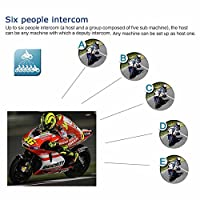 GBGS Bluetooth Motorcycle Helmet Headset Full-face Sports Interphone Motorbike Wireless 6 Riders Handsfree Low-Profile Headphone 2-way 500m Talk for Riding, Trip, Cruise, Offroad, Snow Sport(2 Pack)