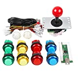 Gamelec Arcade Game Button and Joystick Controller Kit for Raspberry Pi and PC Games,Red Joystick and 10x LED Illuminated Push Buttons DIY Kits for Mame