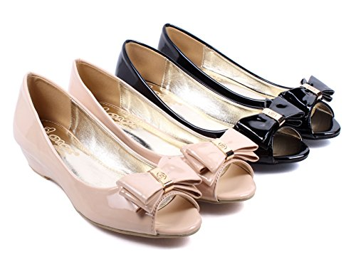 Fashion Slip on Bowknot Ladies Open Toe Faux Leather Wedges Low Heels Womens Sandals Shoes New Without Box