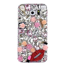 Samsung Galaxy S7 Edge Case, Sense-TE Luxurious Crystal 3D Handmade Sparkle Diamond Rhinestone Clear Cover with Retro Bowknot Anti Dust Plug - Sexy Lips Rose Flowers