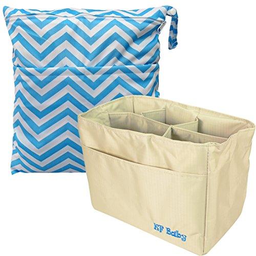 """KF Baby Diaper Bag Organizer 9,6""""(Khaki) + pannolino Wet Dry Bag valore Combo"""