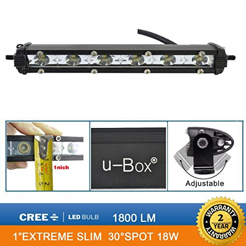 u-Box 7inch 18W Cree Led Single Row Slim 1'' Led Work Light Bar Spot Beam Off road Bumper Rock + Mounting Brackets (Single Led Work Light compare prices)