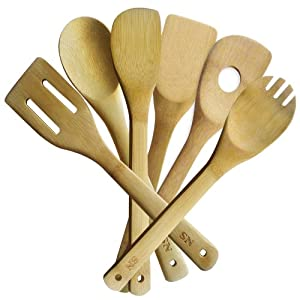 Bamboo Kitchen Utensils, Cool Looking Cooking Tool Set - 6 Wooden Spoons and Spatula... by Soleness