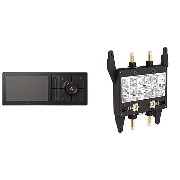 Moen TS3302BL U by Moen Digital Shower Controller with S3102 U by Moen Digital Shower Valve 2-Outlet (Color: Matte Black)